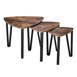 VASAGLE Industrial Nesting Coffee Table, Set of 3 for Living