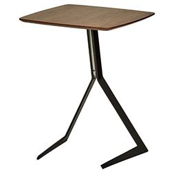 Industrial Tilted Wood and Metal Side End Table With Legs 17