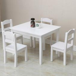 Kid Wood Table and Chairs Set White - 4 Chairs and 1 Activit