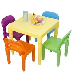 Kids Plastic Table and 4 Chairs Set for Toddler Reading Writ