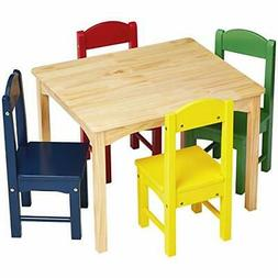 AmazonBasics Kids Wood Table and 4 Chair Set, Natural Table,