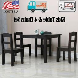 Kids Wood Table & 4 Chairs Set for Boys And Girls Ages 3 Yea