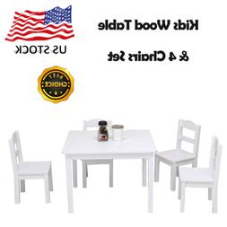 Kids Wood Table & 4 Chairs Set for Toddler's Bedroom, Playro