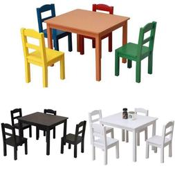 Kids Wood Table & 4 Chairs Set For Eating Reading Books Colo