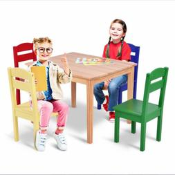 Kids Wood Table & 4 Chairs Set Espresso Solid Hard Wood for