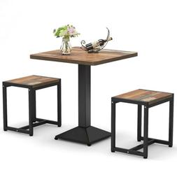 Kitchen 2 Versatile Small Square Table Set with Stools for D