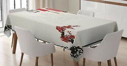 Ambesonne Kitchen Decor Rectangle Tablecloth Dining Room Tab