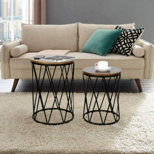 2 Convertible End Tables Metal Top