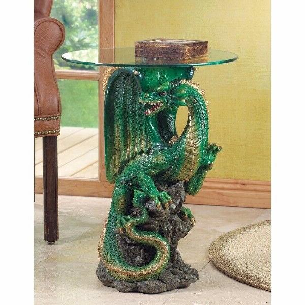 2 Tables Green Dragon Base w/ Tempered Glass