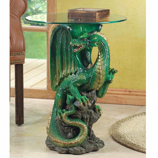 2 side accent tables green dragon base