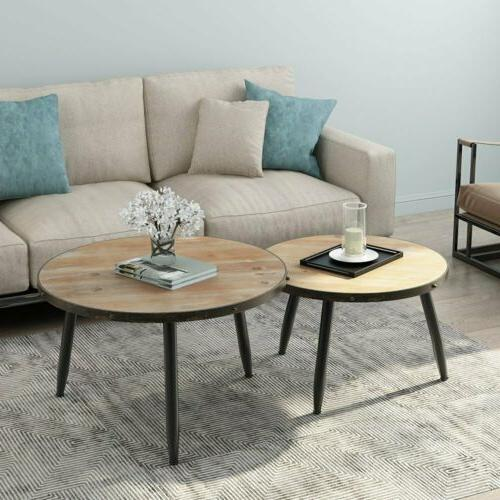 Industrial Nesting Coffee Table Set of 2 Home Living Room Ro