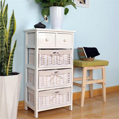 3/4 Layer End Side Bedside Table with Basket