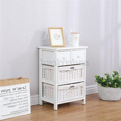 3/4 Layer End Bedside Nightstand with Drawer,Storage Basket
