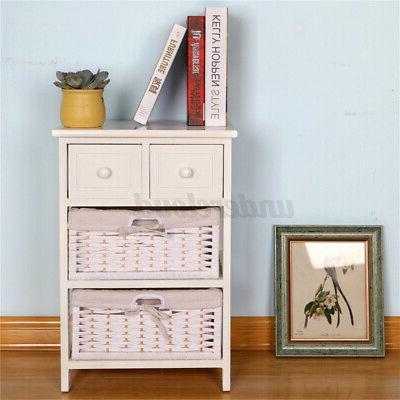 3/4 Layer End Side Bedside Table Nightstand with Drawer,Storage Basket