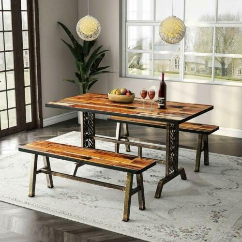 Tribesigns Dining Table with Two Benches Vintage Chic Design