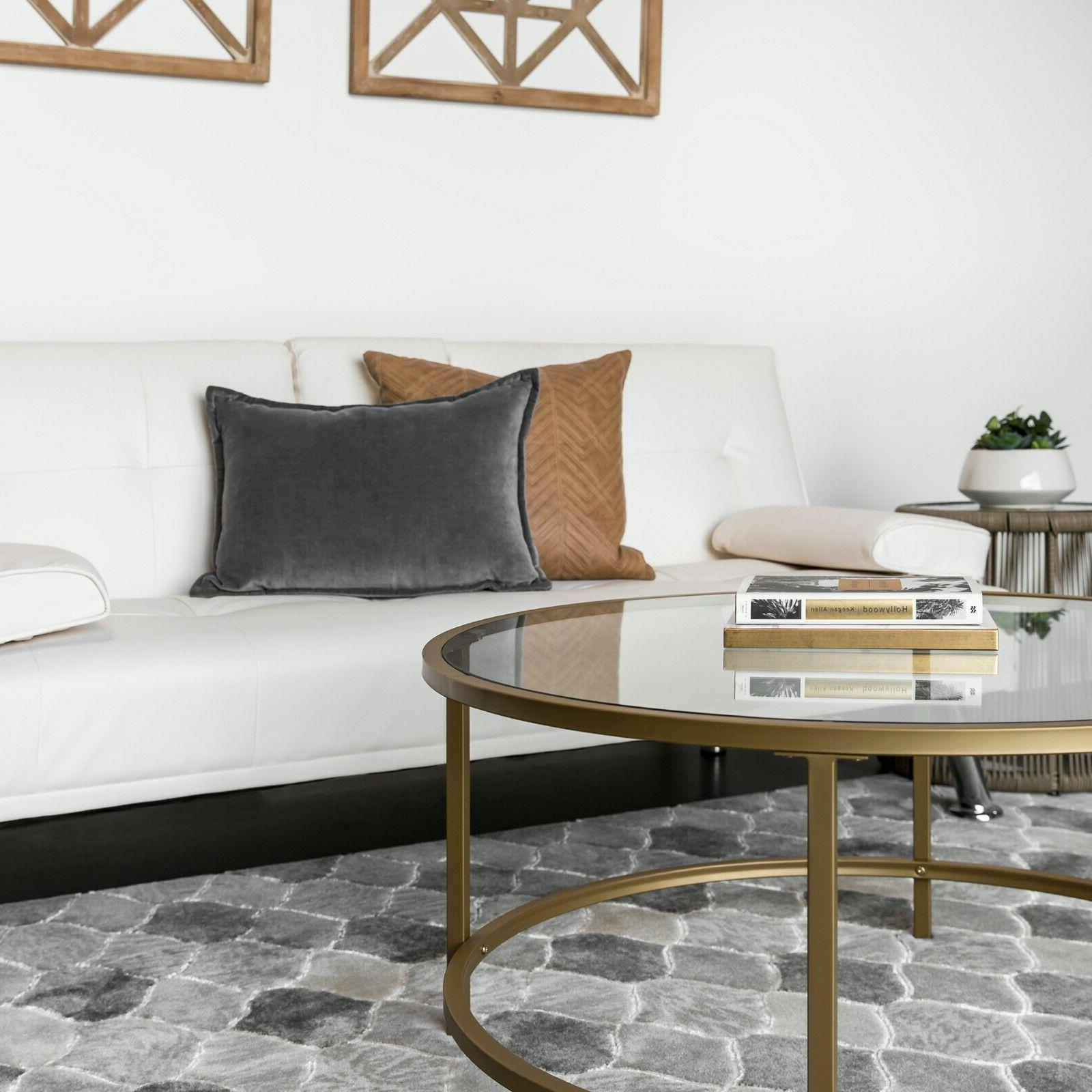 Round Tempered Coffee Table w/ Satin Gold Trim