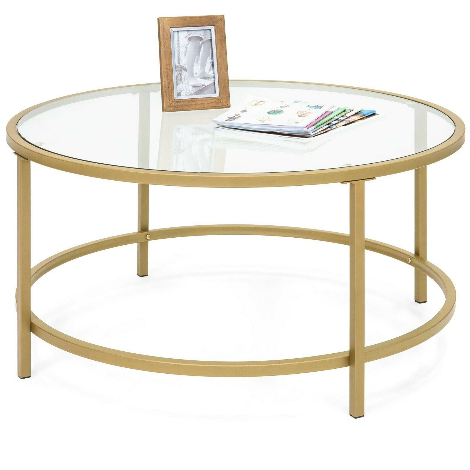 36in round tempered glass coffee table w