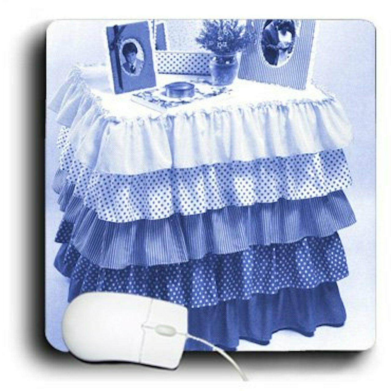 3dRose 8 8 x 0.25 Inches Mouse Blue Ruffles on