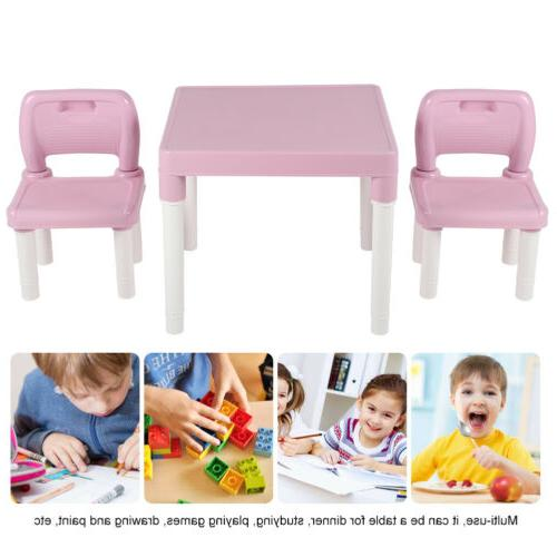 3Pcs Table Chairs Set Children Boys Table