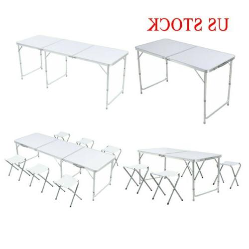 4 6ft portable folding table aluminum party