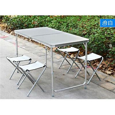 Portable 4FT Folding Table Adjustable Indoor Outdoor BBQ Pic