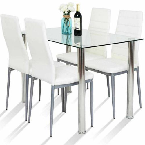 5 Piece Set 4 Chairs Glass Metal