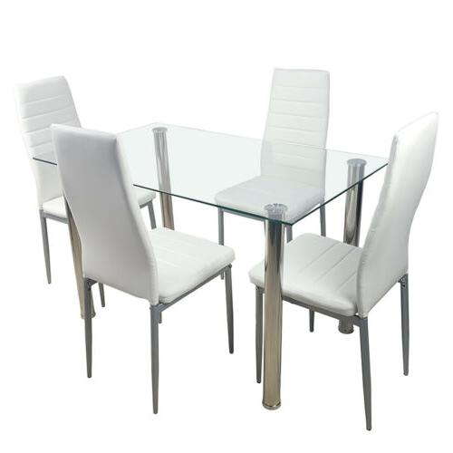 5 Dining Table Set 4 Chairs White Glass Kitchen Furniture