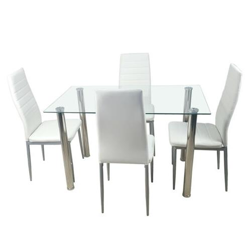 5 Dining Set Glass Furniture