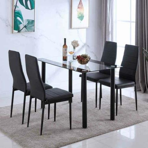 5PC Set Dining Glass Table + Leather Metal Furniture