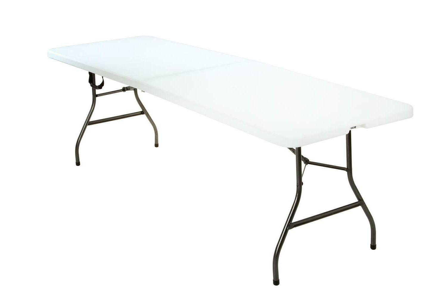 White Plastic Folding Portable Table 8ft Centerfold Camping