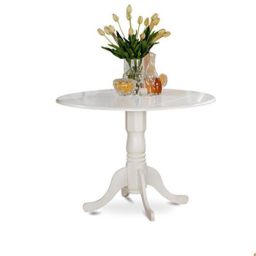 East West Furniture DLT-WHI-TP Round Table with Two 9-Inch