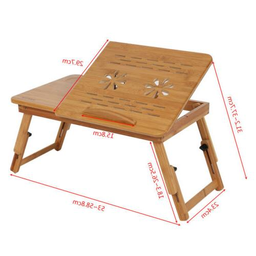 Adjustable Bamboo Notebook Laptop Lap Bed Stand Table Desk Tray W.Drawer