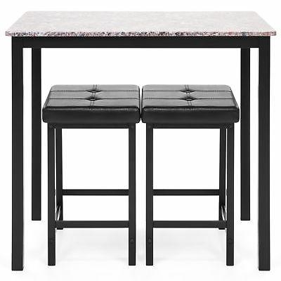 BCP Marble Counter Table Dining 2 Stools
