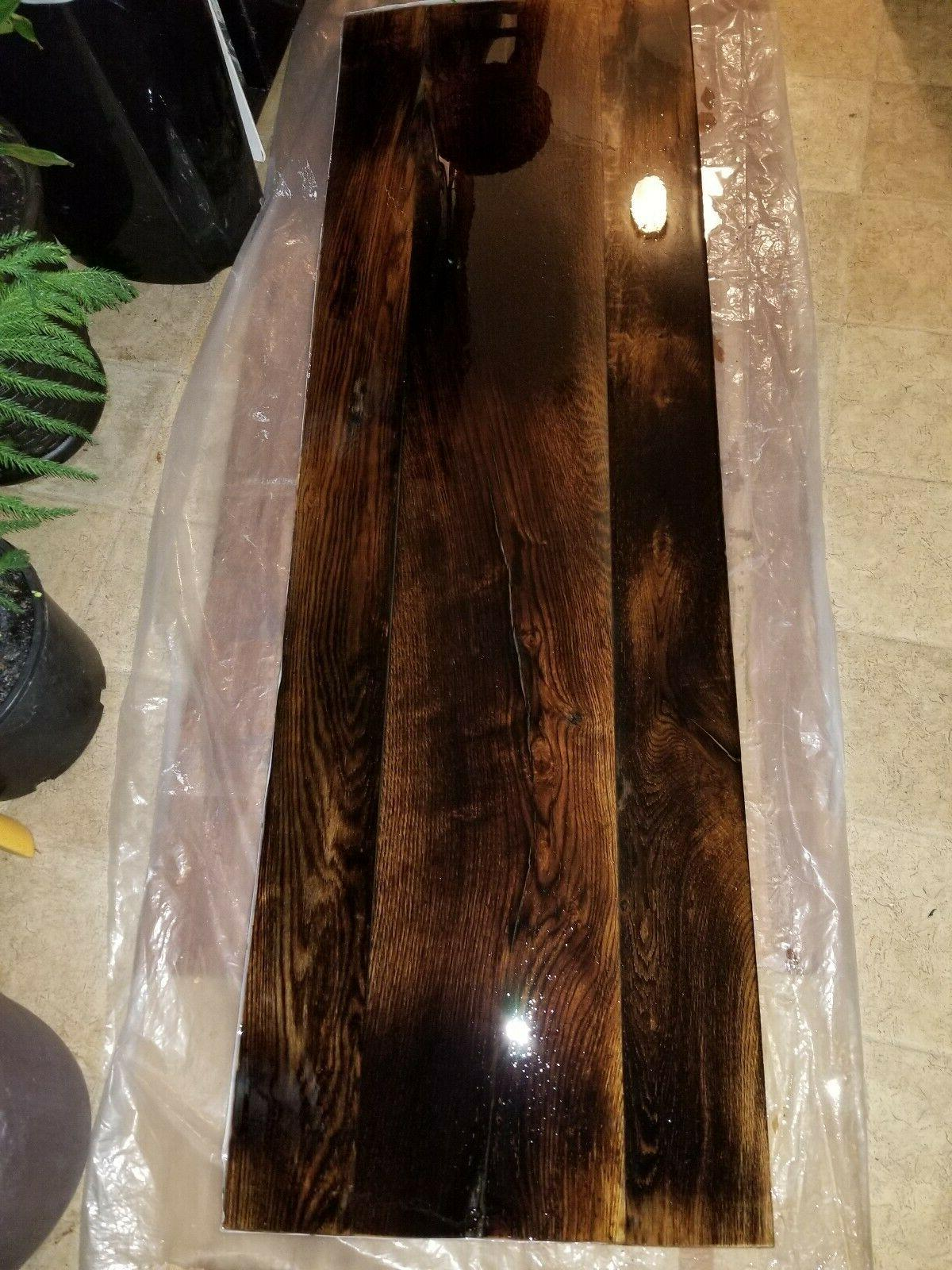 dining table burnished wood resin top tappered
