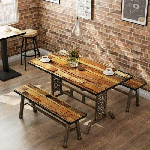 Rustic Dining Table with Two Benches 47.2''Lx 23.6''Wx 29.5'