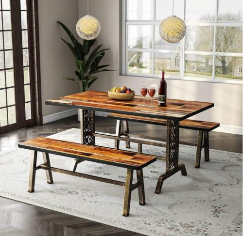 Rustic 3 Pieces Dining Set US Kitchen Table Set with Metal B
