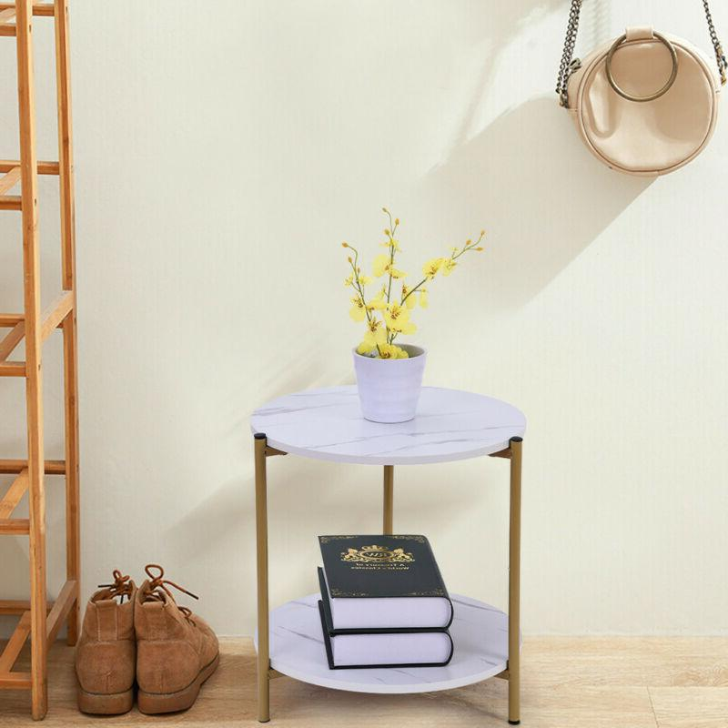 Round Set of 2 End Table Home Coffee