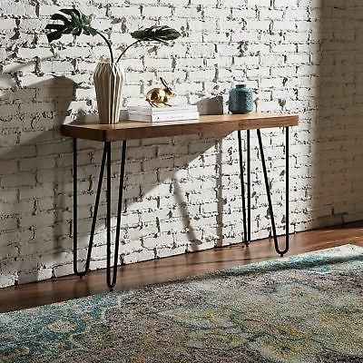 "Rivet Hairpin Wood Metal Tall 29.5"" Console Table"