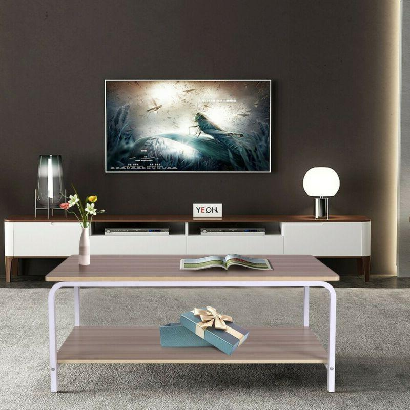 Industrial Accent Coffee Table W Storage Shelf Living Room W