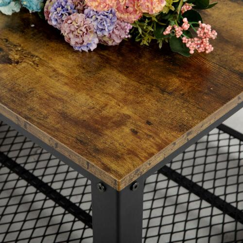 Industrial Accent Coffee with Storage Shelf Room Wood Rustic