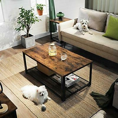 Industrial Table with Storage Shelf for Living Room,