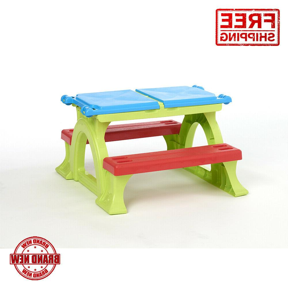 Kids Activity Table & Bench With Storage In-Outdoor Toddler