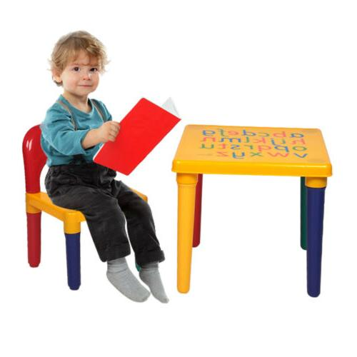 Kids Plastic Chair Set Furniture Toddler Toy Play Gifts
