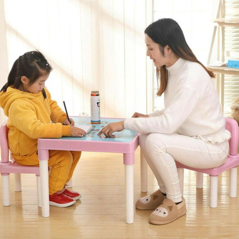 Plastic Suitable For Kids Table And 2 Chairs Set, Set For Bo