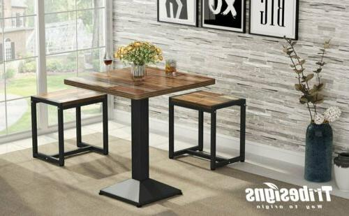 23.6''L Versatile Small Table Set w/ Metal Frame for Kitchen