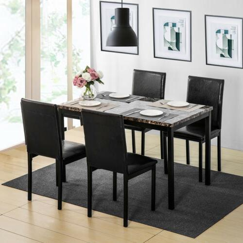 5Pcs Room Set Table and Chairs Black