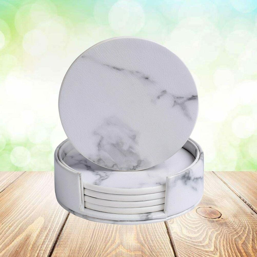 Marble Design Coaster Synthetic Leather Placemat For Home Di