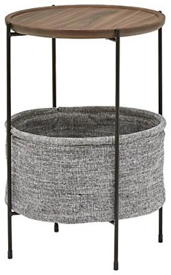 Modern Round Storage Basket Side Table Meeks Walnut and Grey