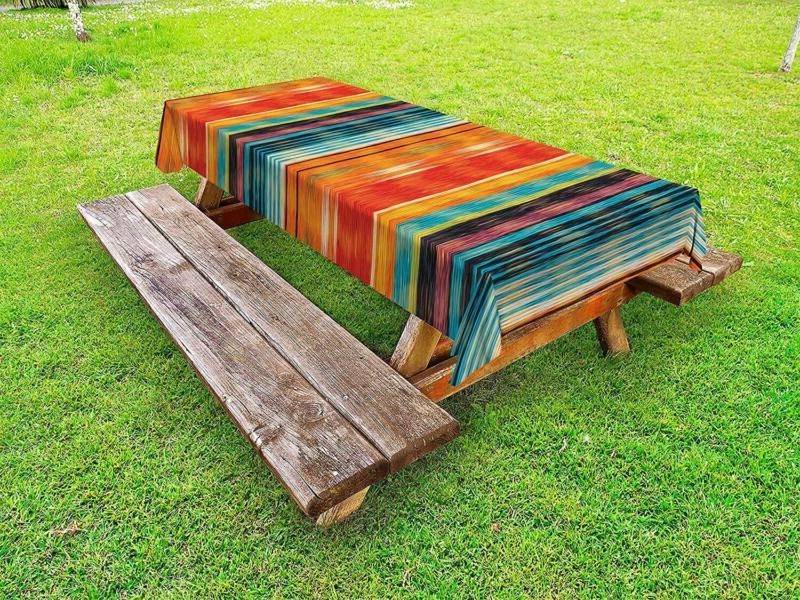 mexican outdoor tablecloth abstract vibrant vintage aztec