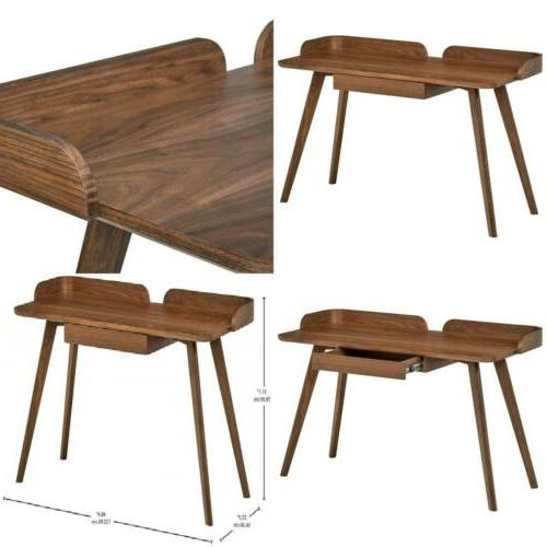 Mid-Century Curved Wood Table Home Office Computer Desk Waln